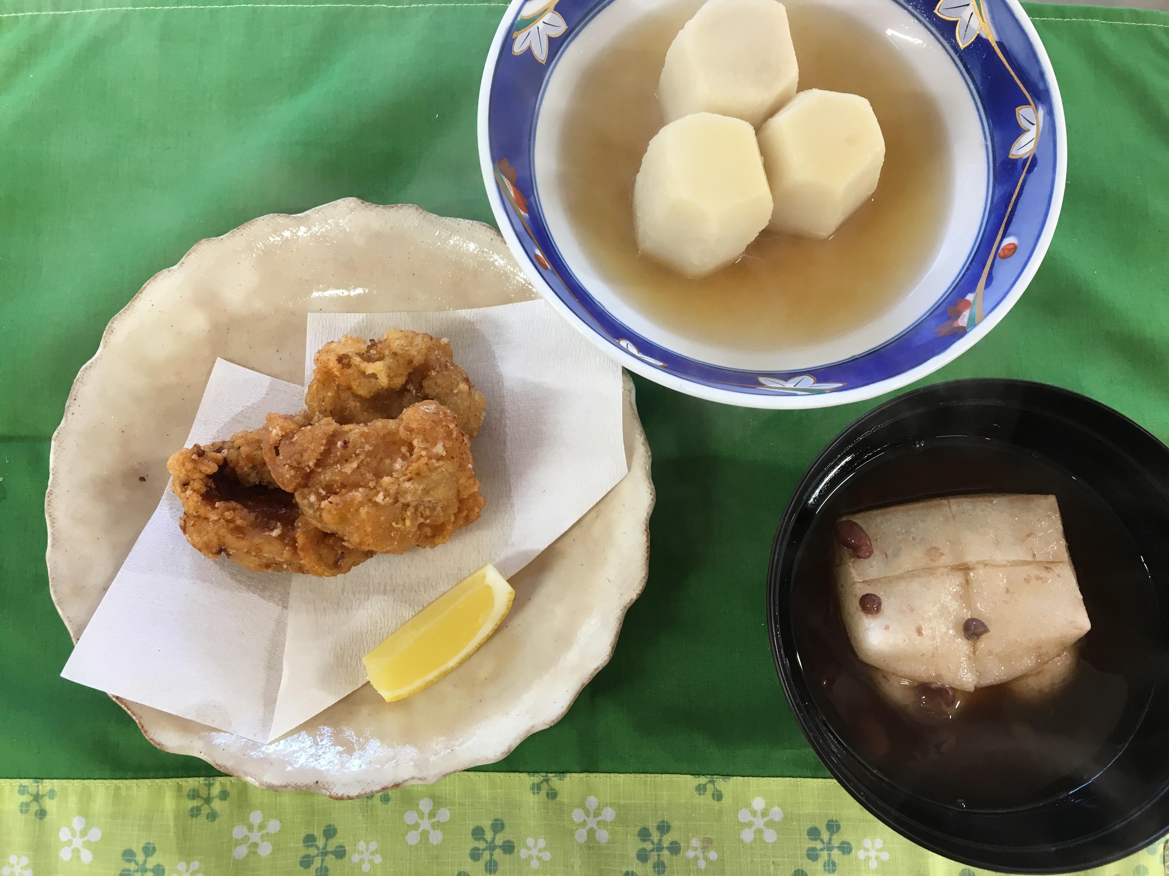 里芋の六方(実技試験)、唐揚げ、おしるこ