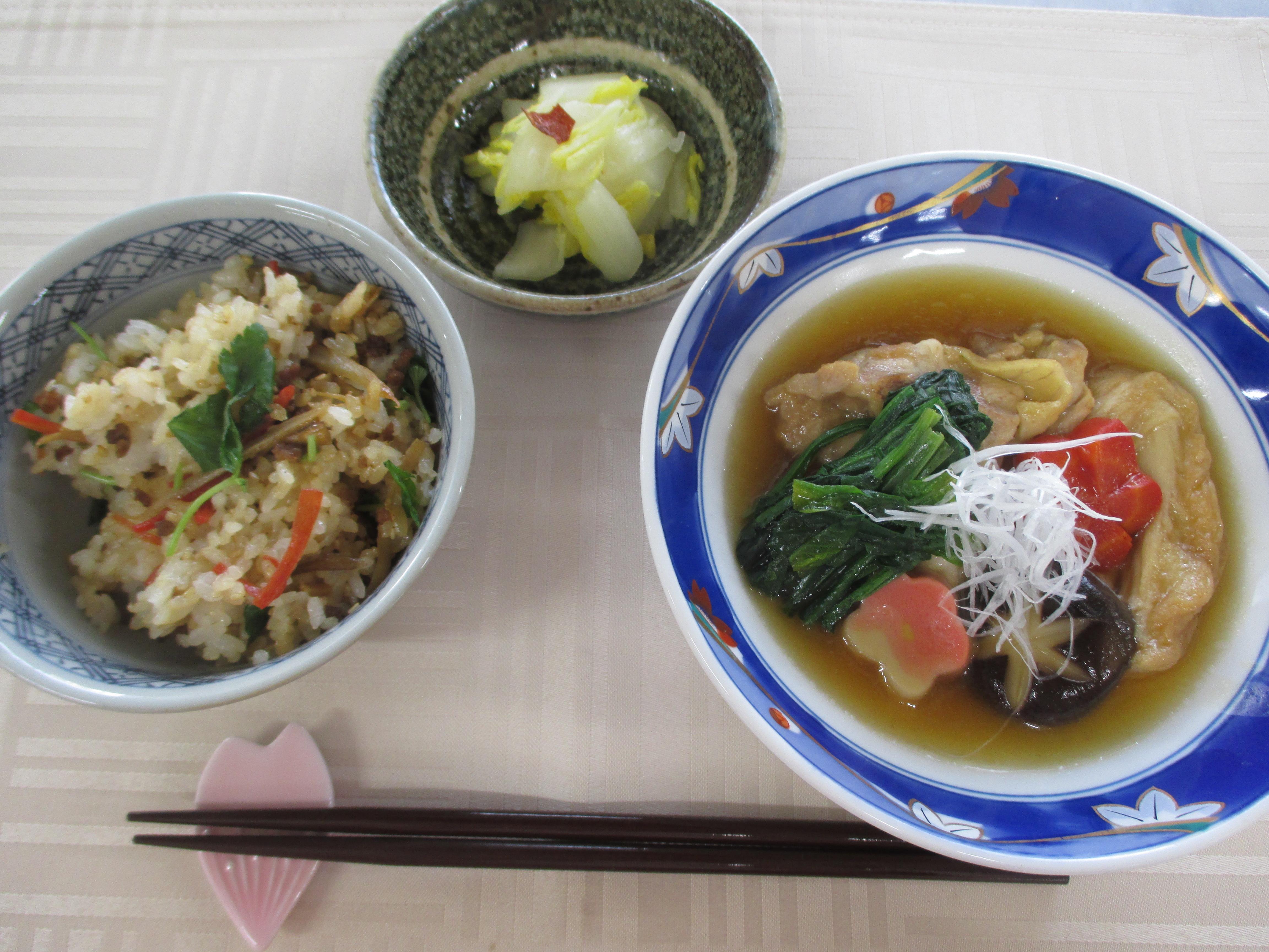 治部煮、混ぜご飯、白菜の浅漬け